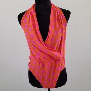 B2G1 Vintage Escada Orange Polka Dot Silk Bodysuit